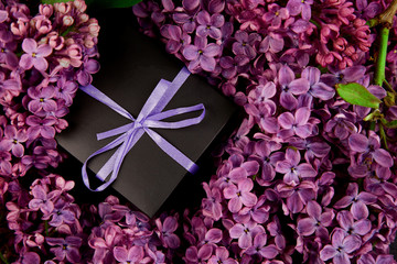 Black small gift boxes wrapped purple ribbon with natural lilac.
