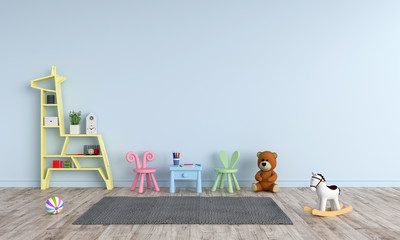 Table and chair in blue child room for mockup, 3D rendering