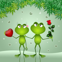 an illustration of two frogs with rose and heart