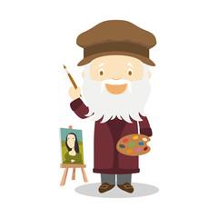 Leonardo da Vinci cartoon character. Vector Illustration. Kids History Collection.