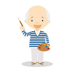 Picasso cartoon character. Vector Illustration. Kids History Collection.