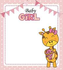 Baby girl shower card. Cute giraffe with teddy. Space for text