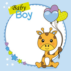 Baby boy shower card. Cute giraffe with balloons. Space for text