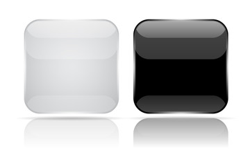 Black and white 3d glass buttons. Square icons