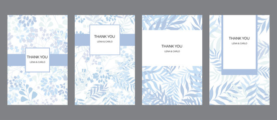 Hand drawn floral THANK YOU cards set template, universal, clasic design
