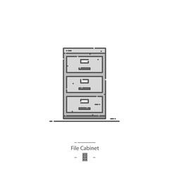 File cabinet - Line color icon