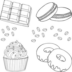 Chocolate desserts collection. Chocolate cupcake, donut or doughnut, Cake macaron or macaroon, chocolate and coffee beans. Raster illustration