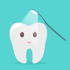 Tooth treating with dental mirror. Idea of oral care