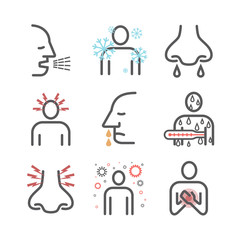 Influenza. Flu Symptoms, Treatment. Line icons set. Vector signs for web graphics.