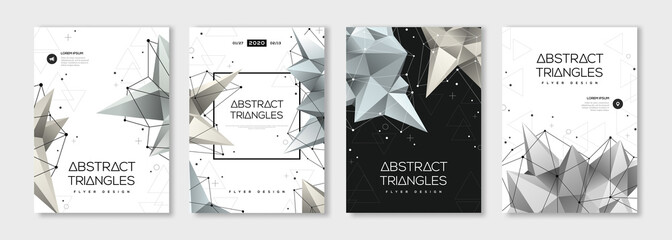 Banners set with polygonal shapes