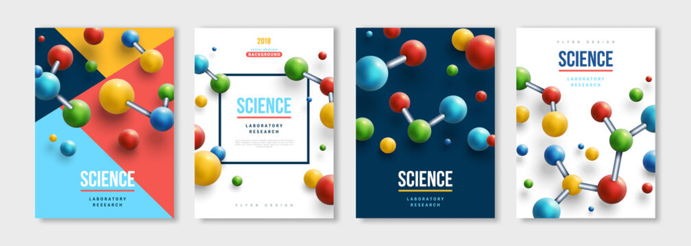 Banners set with colorful molecules