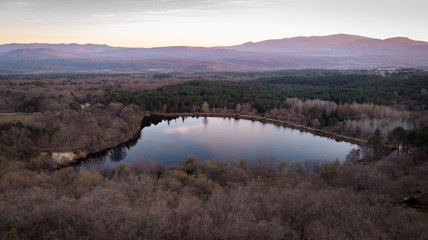 Aerial viewe of a lake and the mountain