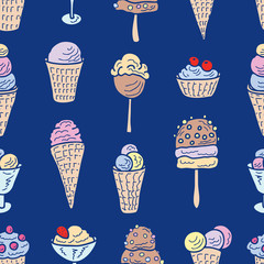 Seamless pattern of different ice cream