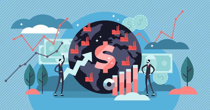 Macroeconomics vector illustration. Flat tiny finance chart persons concept