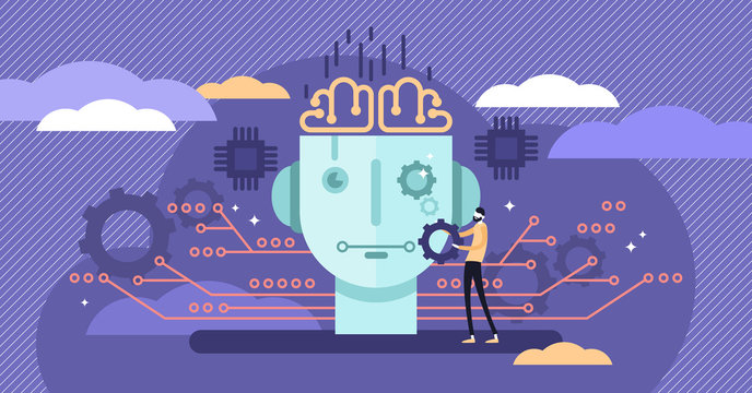 Artificial intelligence or AI vector illustration. Flat tiny person concept