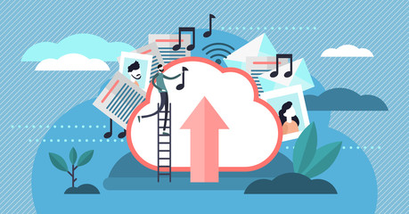 Cloud storage vector illustration. Flat tiny person uploading files concept
