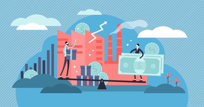 Microeconomics vector illustration. Flat tiny local business person concept