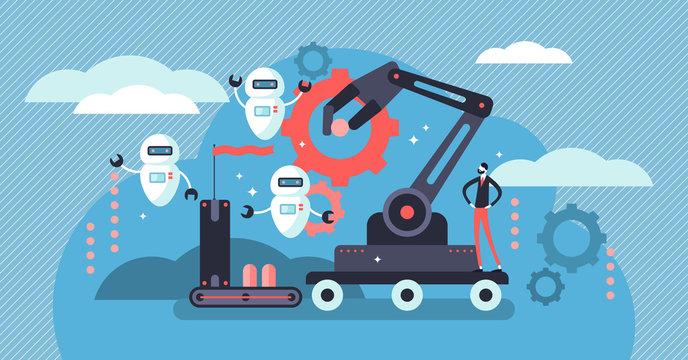 Robotics vector illustration. Flat tiny person concept with future job automatization