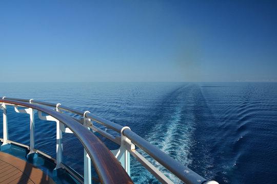 Wake of the cruise ship.