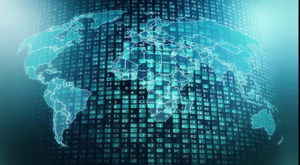 Fototapete - Internet worldwide global digital data flows and processing