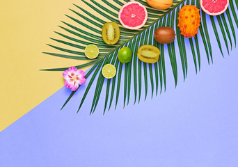 Tropical Summer Design Set. Palm Leaf and Fresh Fruits. Trendy Fashion concept. Vegan Colorful Flat lay. Creative Bright background. Minimal