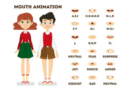 Human mouth set for speech animation. Lip movement