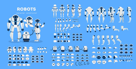 Robot character set for the animation with various views Wall mural
