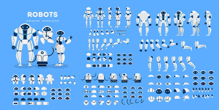Robot character set for the animation with various views