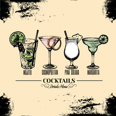 Vector illustration of alcoholic cocktails. Sketch of mojito margarita pina colada and cosmopolitan with slice of lime and straw. Bar menu design. Cocktail party icon. Template for card and poster