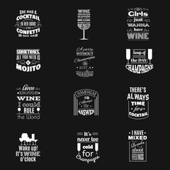 Collection of quote typographical background about champagne cocktails  and wine with silhouette of different kind of glasses and hand drawn elements. Template for business card, poster and banner
