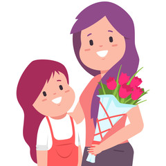 Happy Mother's day image with mom, daughter and bouquet of flowers. Vector cartoon woman and kid character isolated on white background.