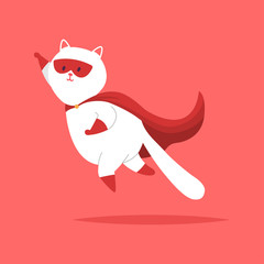 Superhero cat flying in a red mask and cape. Vector cartoon cute pet character isolated on background.