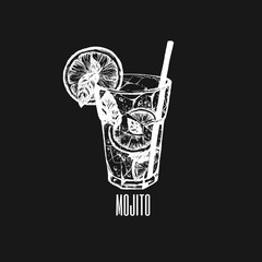 Mojito glass isolated. Vector illustration of alcoholic cocktail. Hand drawn sketch of mojito with slice of lime and straw. Bar menu design. Cocktail party icon. Template for сard poster