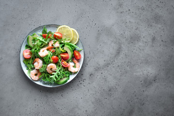Avocado Shrimp Salad with Arugula and Tomatoes