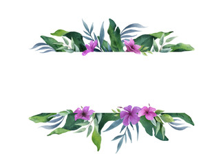 Watercolor vector green banner tropical leaves and flowers isolated on white background.