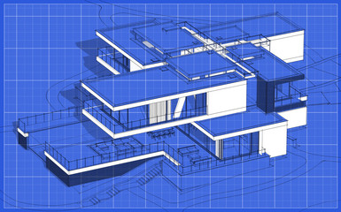 3d rendering sketch of modern cozy house with garage for sale or rent. Graphics black line sketch with white spot on blueprint background