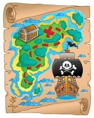 Foto op Plexiglas Piraten Pirate map theme image 5