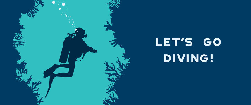 Scuba diver, cave, coral reef