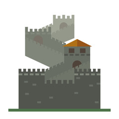 Great Wall of China flat icon isolated
