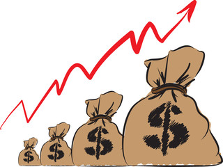 MONEY DOLLAR BAGS ILLUSTRATION