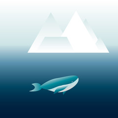 whale deep in the ocean with iceberg outside