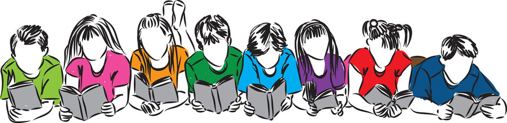 children reading books illustration (2)