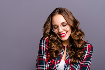 Close up portrait of amazing beautiful she her lady people person sweet awesome hairdo eyes closed chill wearing specs checkered plaid shirt clothes isolated grey background