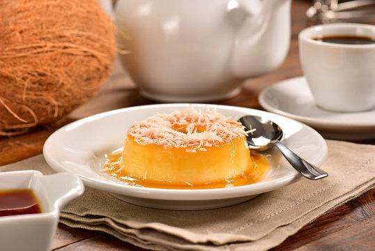 Coconut pudding on decorated scene