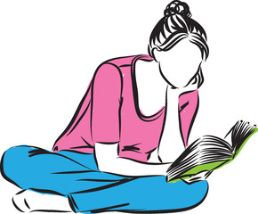 woman reading a book illustration