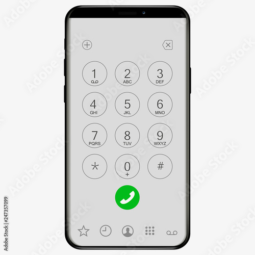 Keypad with numbers and letters for phone  ios User
