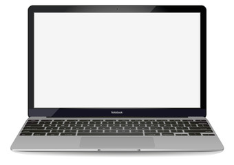 mockup with blank screen - front view.Open laptop with blank screen isolated on transparent background