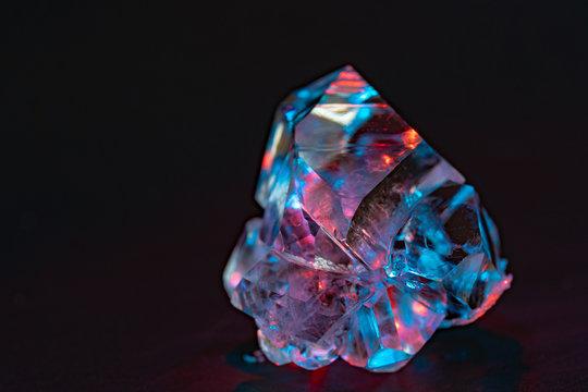 Gemstone nugget. Clear rough diamond
