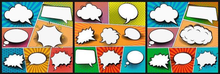 Colorful comic book background.Blank white speech bubbles of different shapes. Rays, radial, halftone, dotted effects. Vector illustration in pop art style Wall mural