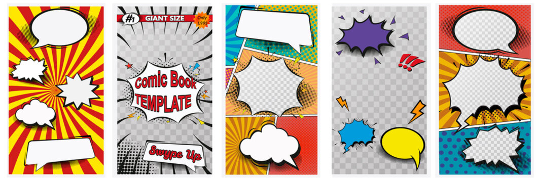 Comic book page colorful composition with halftone rays dotted radial effects. Vector illustration